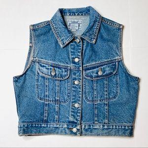 Vintage 80s Jordache Denim Vest Jean Button S